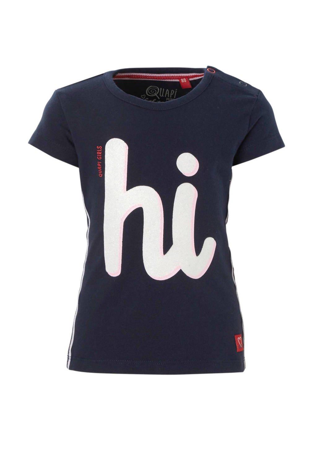 Quapi baby T-shirt met print Roma donkerblauw, Donkerblauw/wit