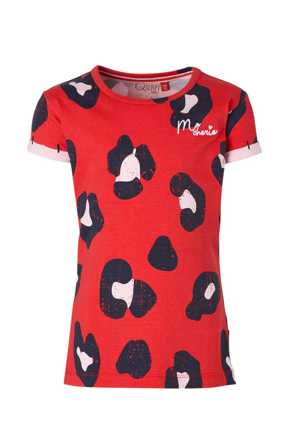 Quapi T-shirt Sissy met panterprint rood, Rood