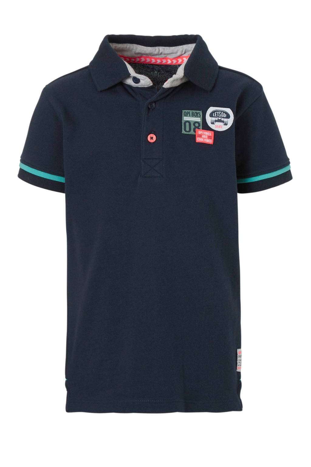 Quapi polo Sherman met patches blauw, Donkerblauw