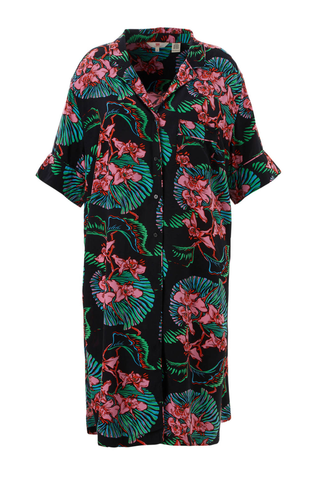Levi's Plus tuniek met bloemen zwart, Zwart/roze/groen