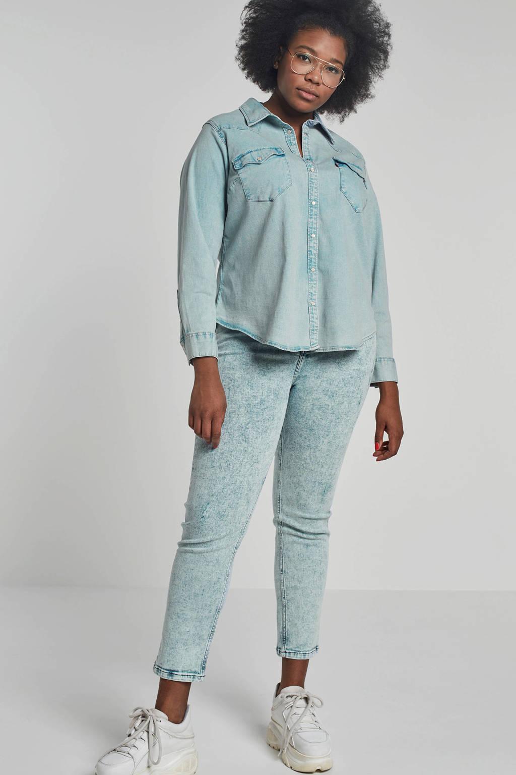 Levi's Plus blouse licht blauw denim, Licht blauw denim