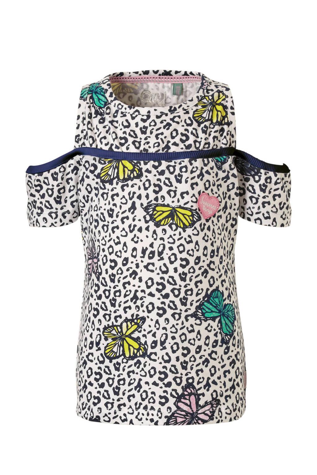 Quapi open shoulder T-shirt Sunshine met panterprint en vlinders wit, Wit/zwart