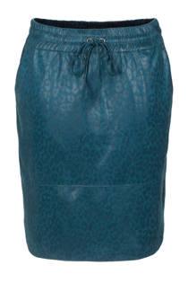 La Ligna coated rok met panterprint blauw