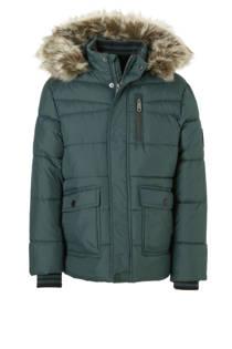 C&A Here & There winterjas met imitatiebont groen (jongens)