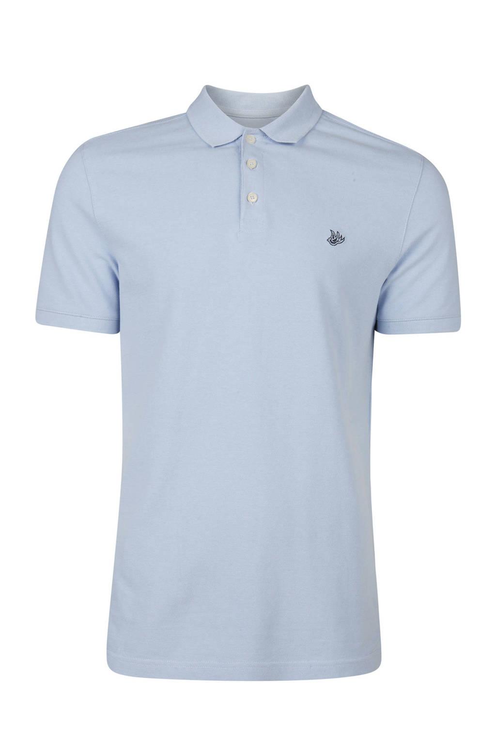 WE Fashion slim fit polo, Lichtblauw