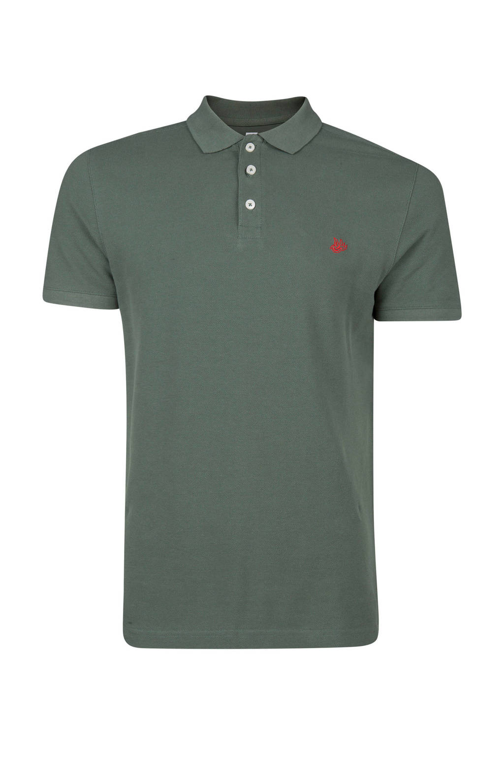 WE Fashion slim fit polo, Donkergroen