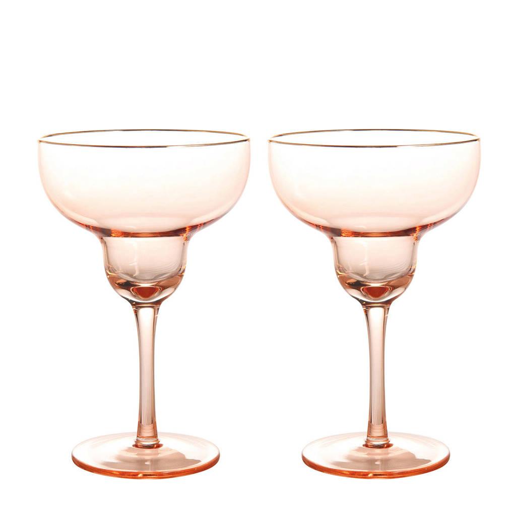 &k amsterdam margarita glas (Ø11 cm) (set van 2), Roze