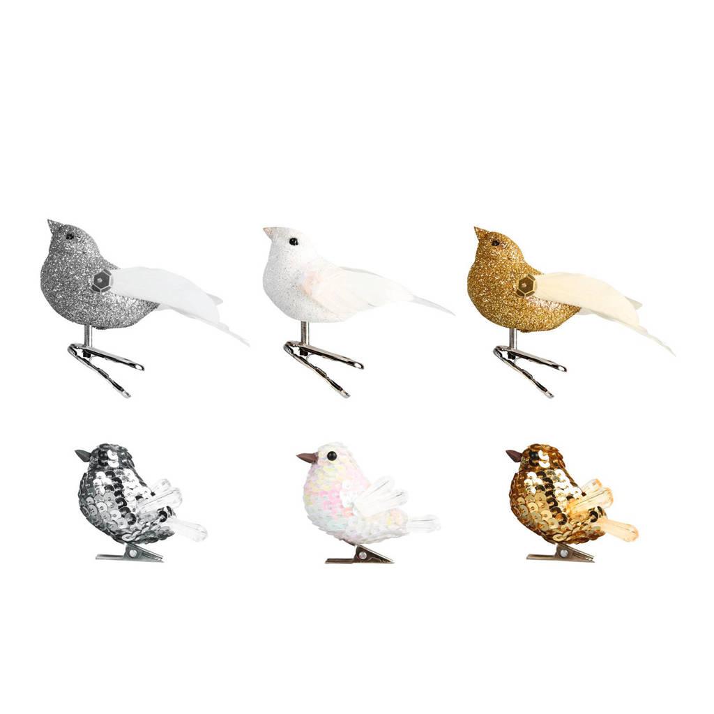 &k amsterdam boomclips (set van 6), zilver/wit/goud