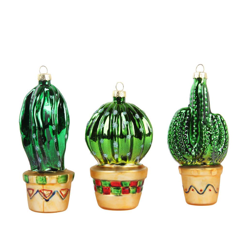 &k amsterdam glazen kersthanger (set van 3), Groen/goud