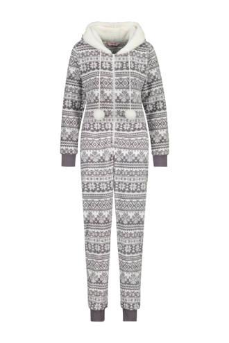 fleece onesie in all over print grijs