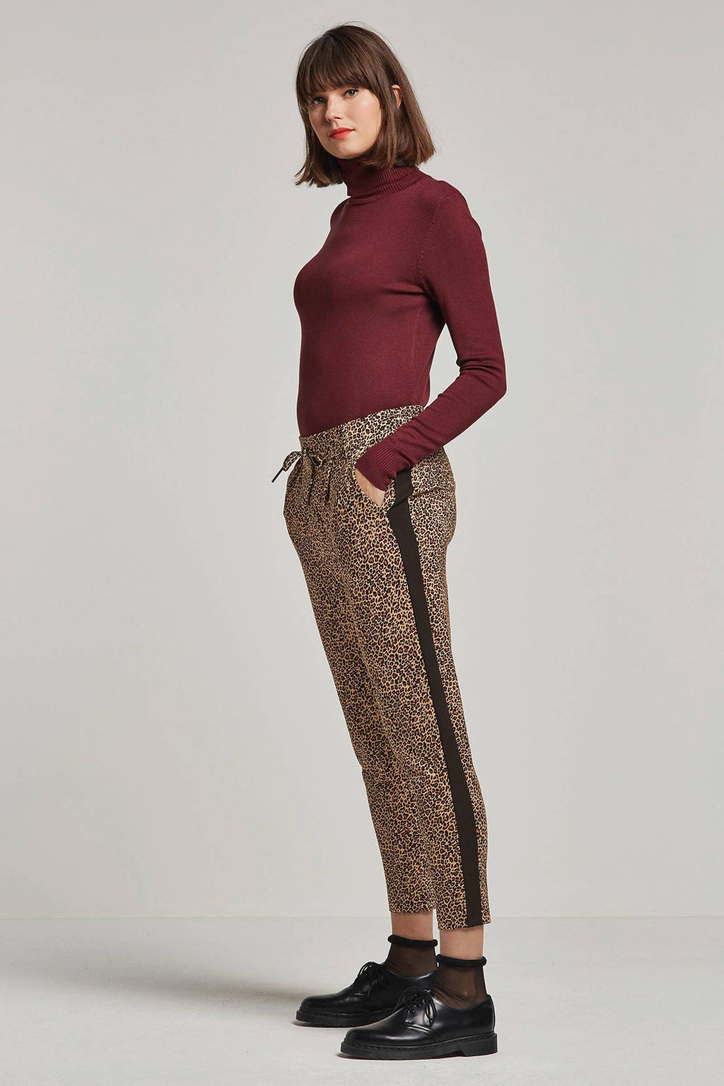 ONLY fijn geweven broek met panterprint, Camel