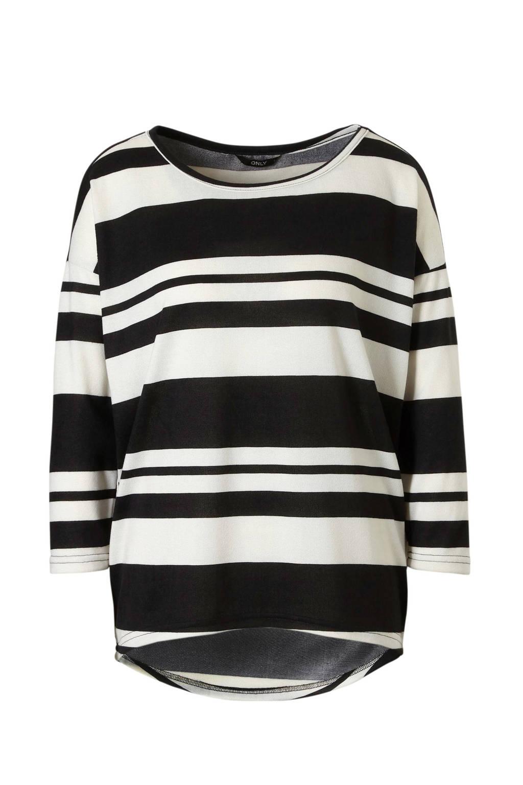ONLY top met strepen, Zwart/wit