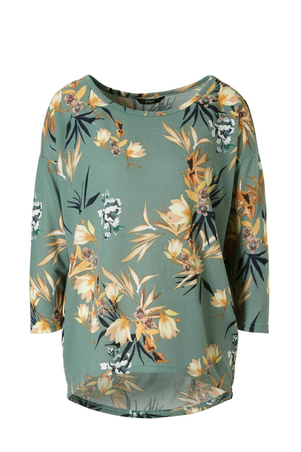 ONLY top met bloemen print, Groen/wit/bruin