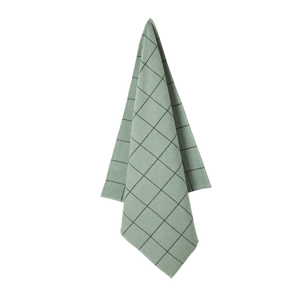 whkmp's own theedoek (65x60cm), Groen/zwart