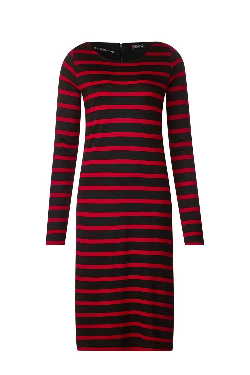 Street One jurk met strepen, Rood/zwart