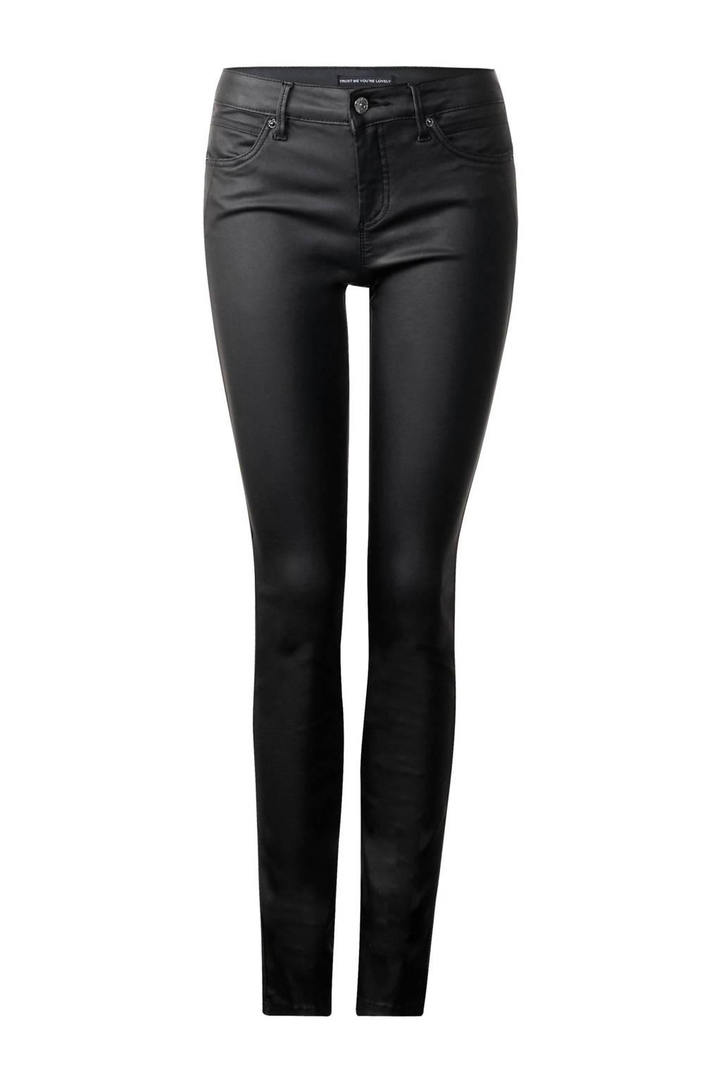 Street One coated slim fit jeans York, Zwart