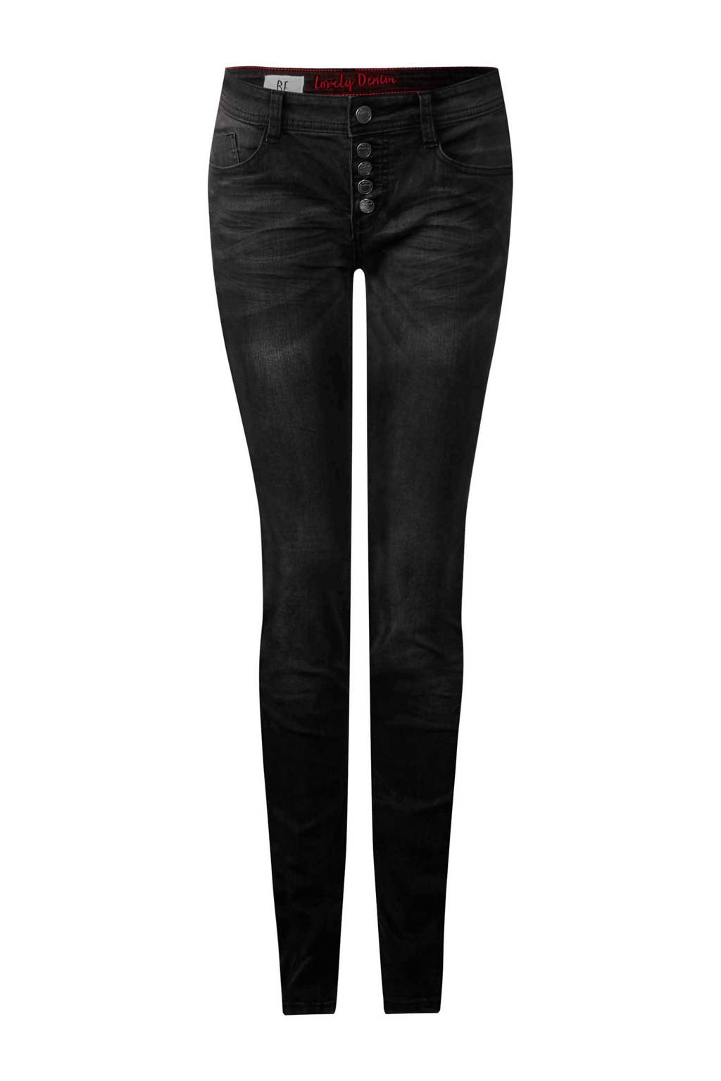 Street One slim fit broek York, Zwart