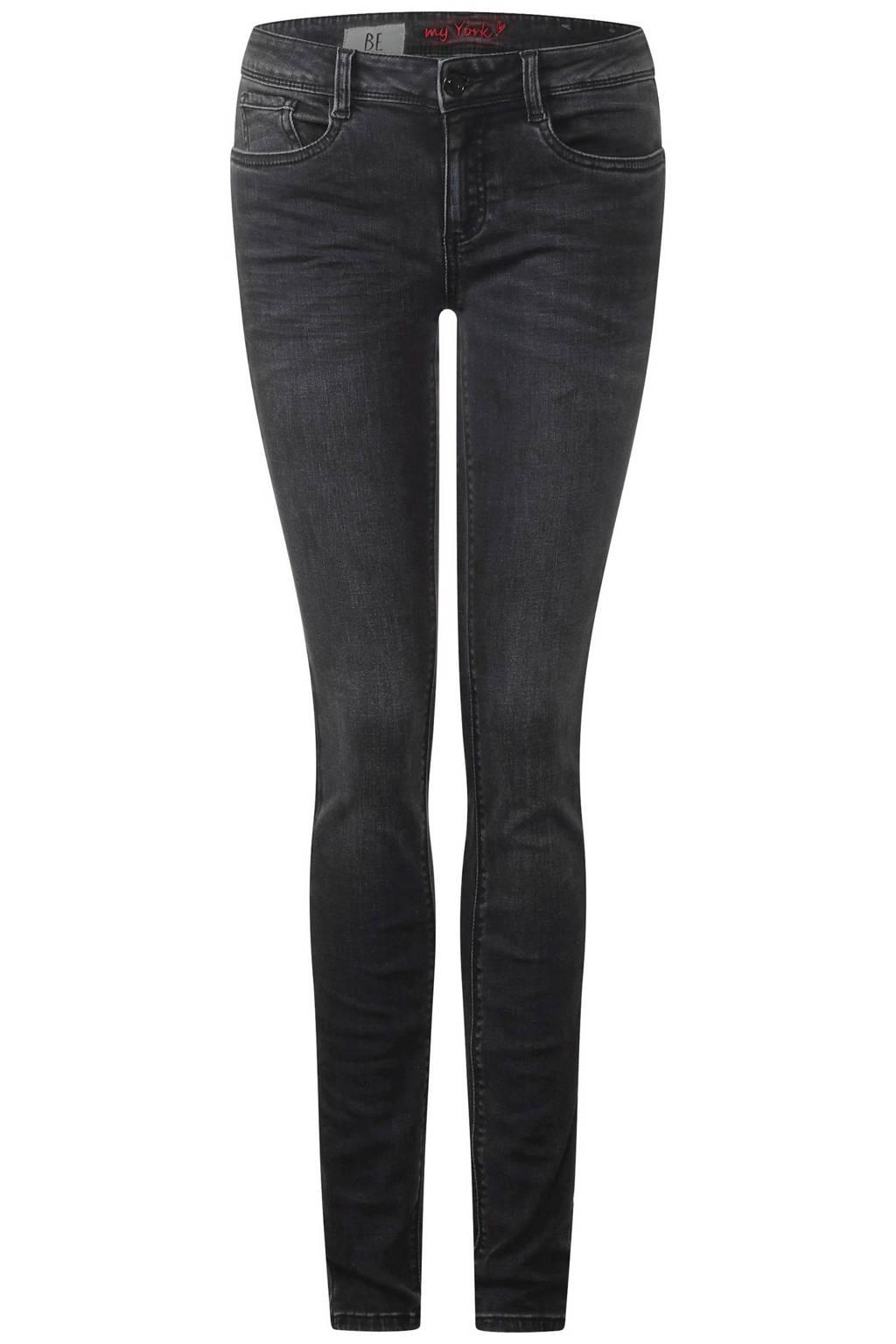 Street One slim fit jeans York, Zwart