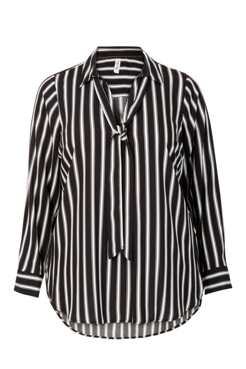 Miss Etam Plus blouse met strepen zwart, Zwart