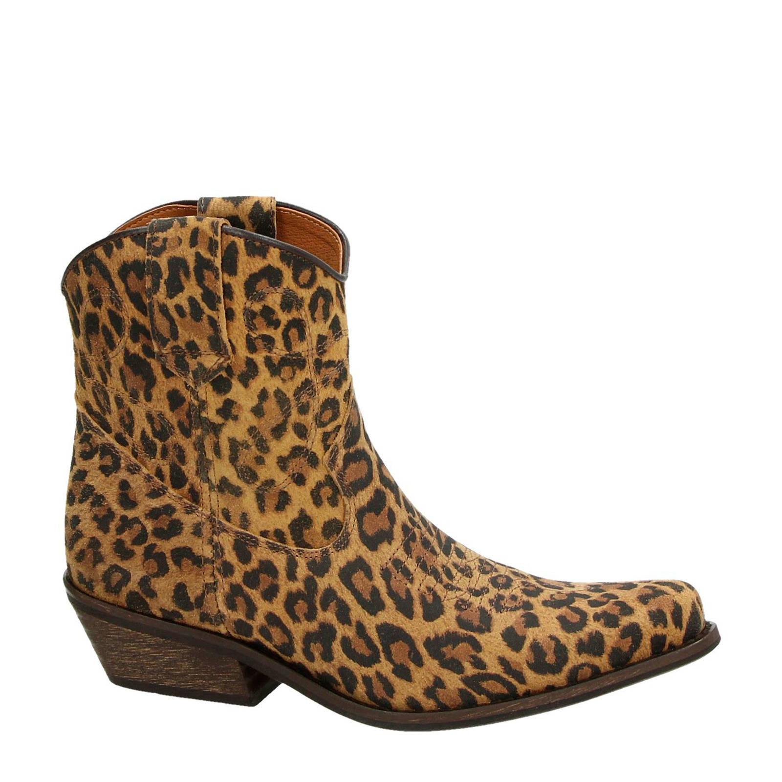 Nelson suède cowboy laarzen bruin met luipaardprint (dames)