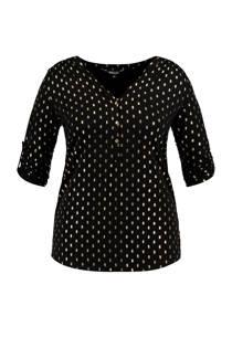 MS Mode top met allover print zwart (dames)