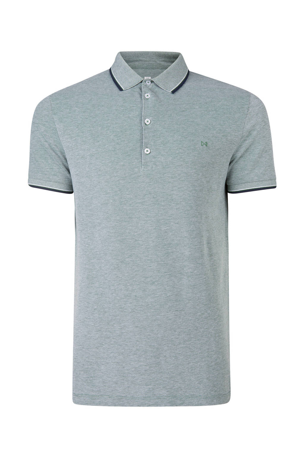 WE Fashion gemêleerde slim fit polo, Grijsgroen