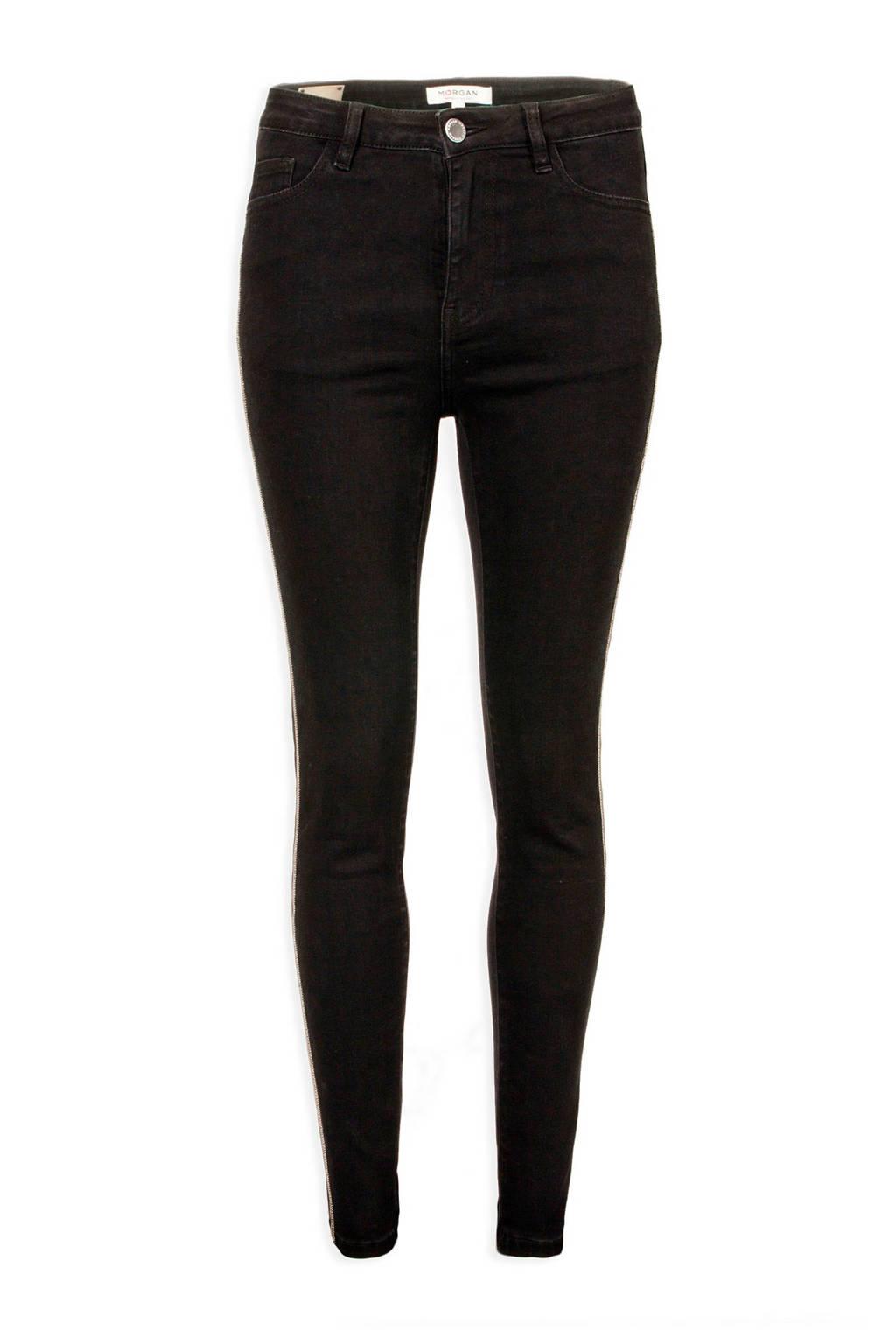 Morgan slim fit jeans met zijstreep, Zwart