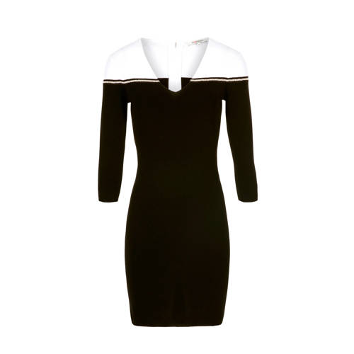 a-lijn jurk met sierstenen zwart