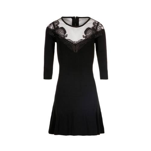 gestreepte a-lijn jurk zwart
