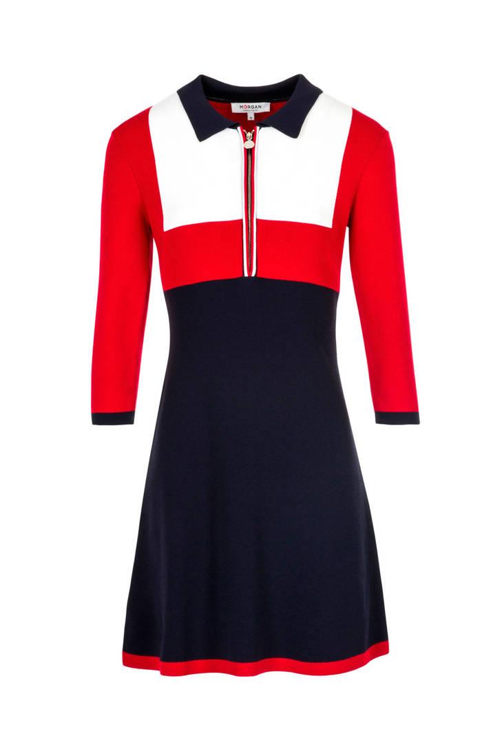 Morgan rood lijn jurk wit a blauw qFpqrwf
