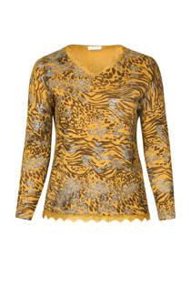 Paprika T-shirt met luipaardprint oker