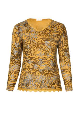 T-shirt met luipaardprint oker