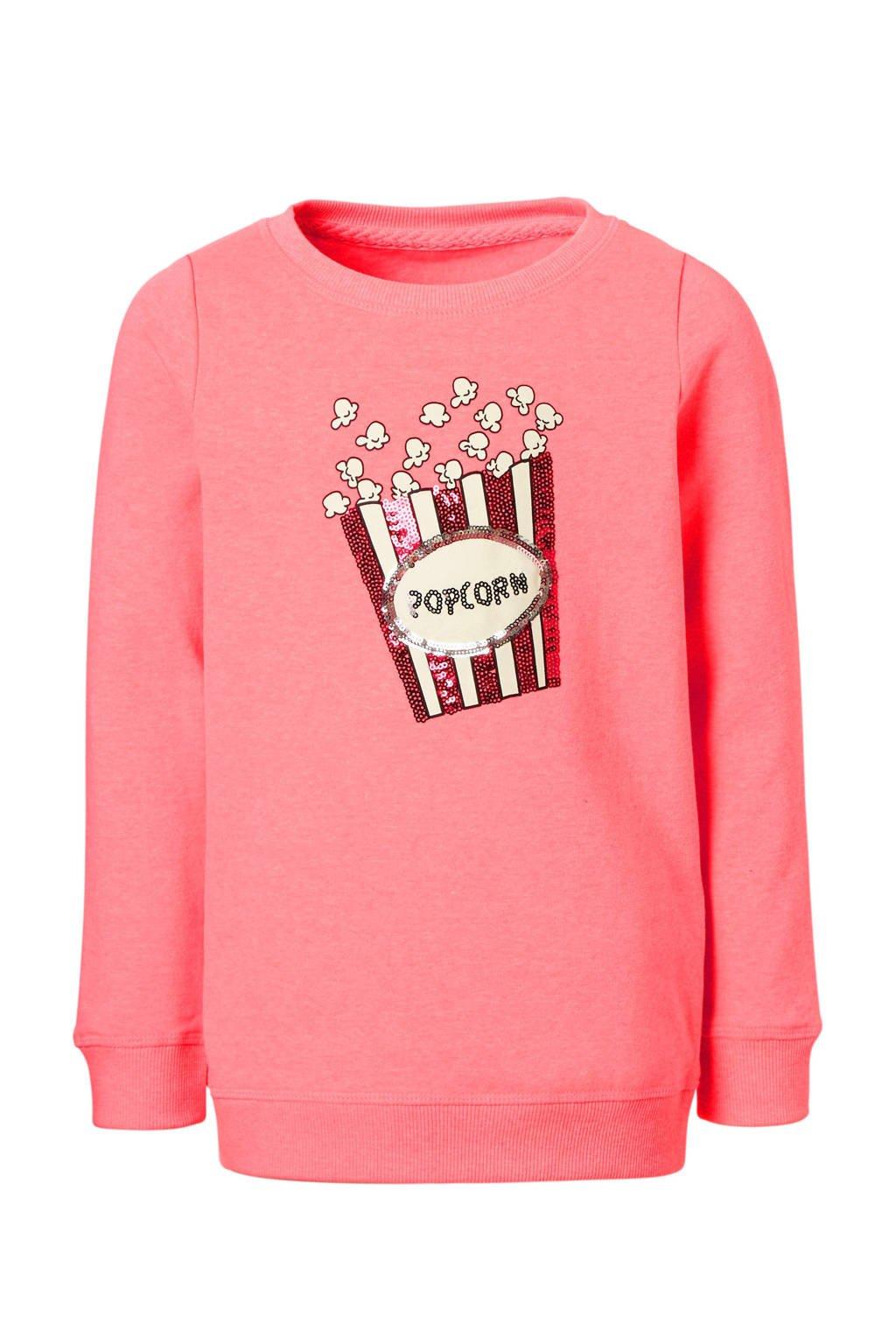 KIDS ONLY sweater Sound met pailetten, Neonroze