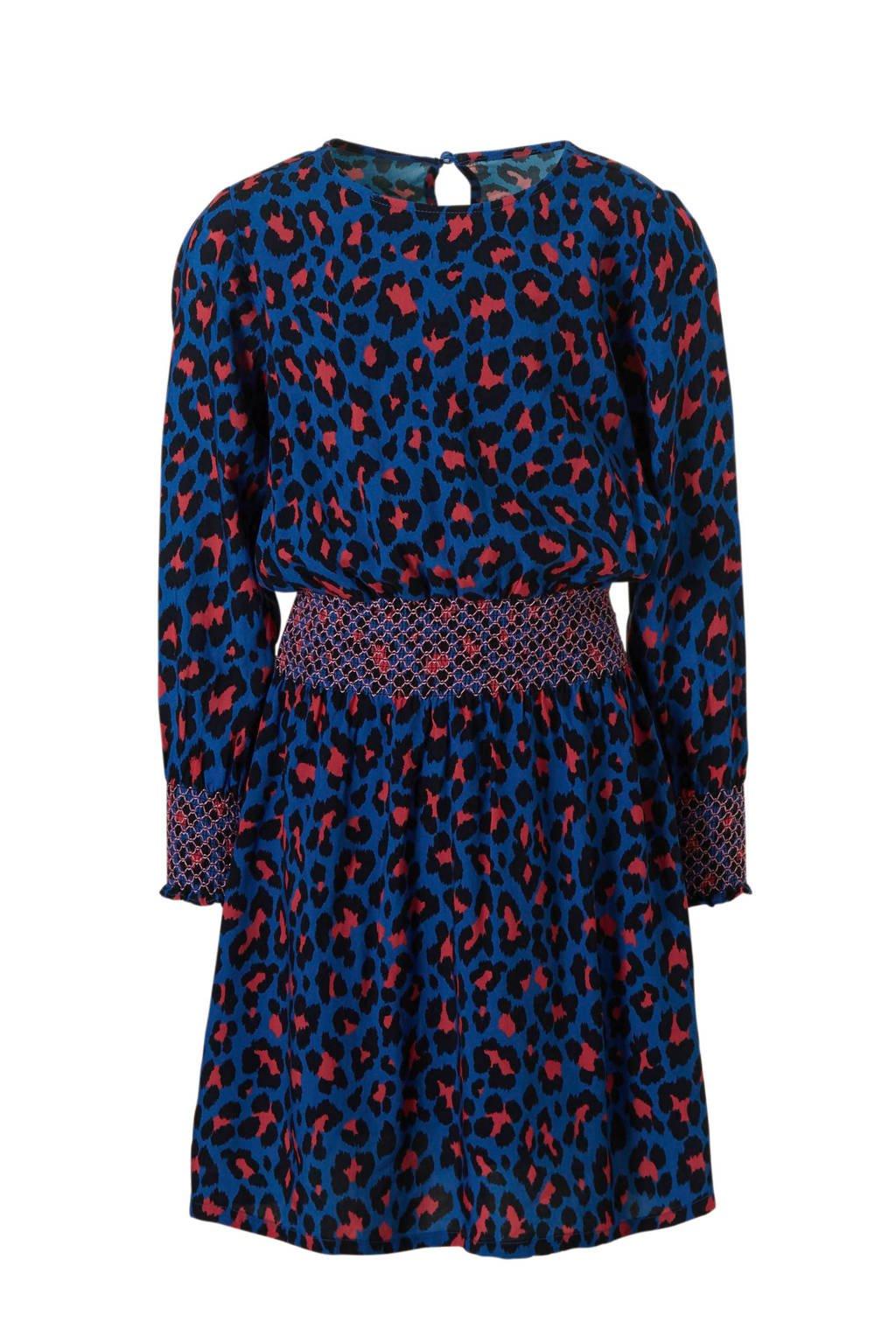 KIDSONLY jurk Ida met panterprint, Kobaltblauw/ zwart/ roze
