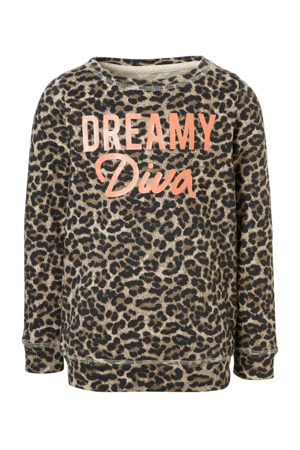 KIDSONLY sweater Sound met panterprint, Bruin/ zwart/ zalmroze