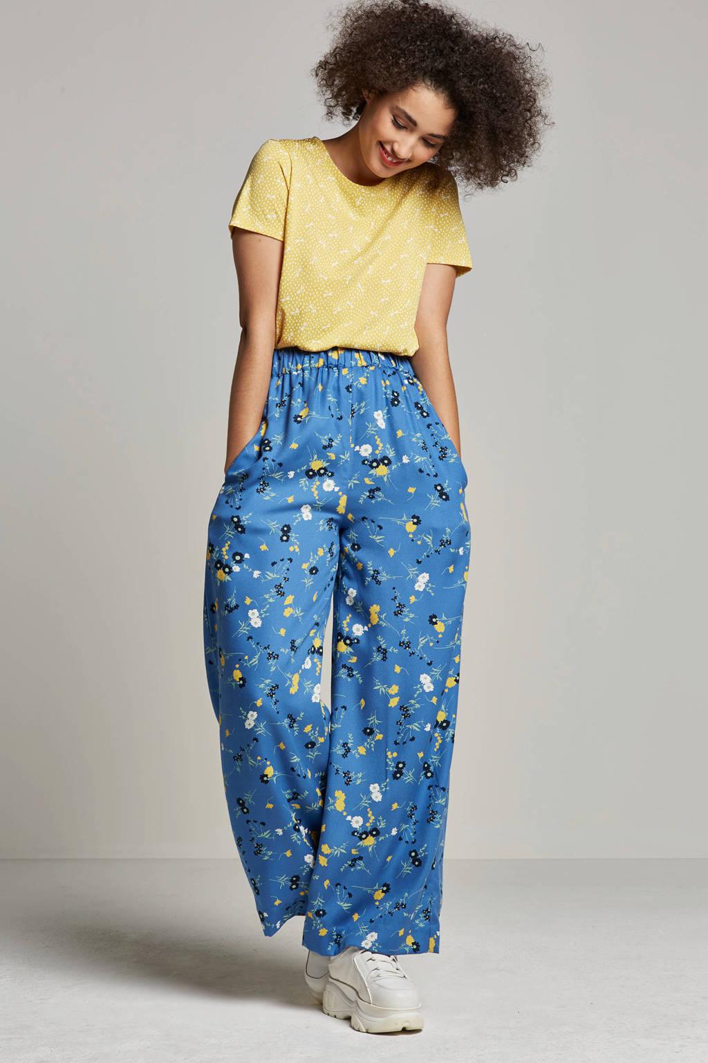 People Tree loose fit high waist gebloemde broek, Blauw/geel/wit/groen