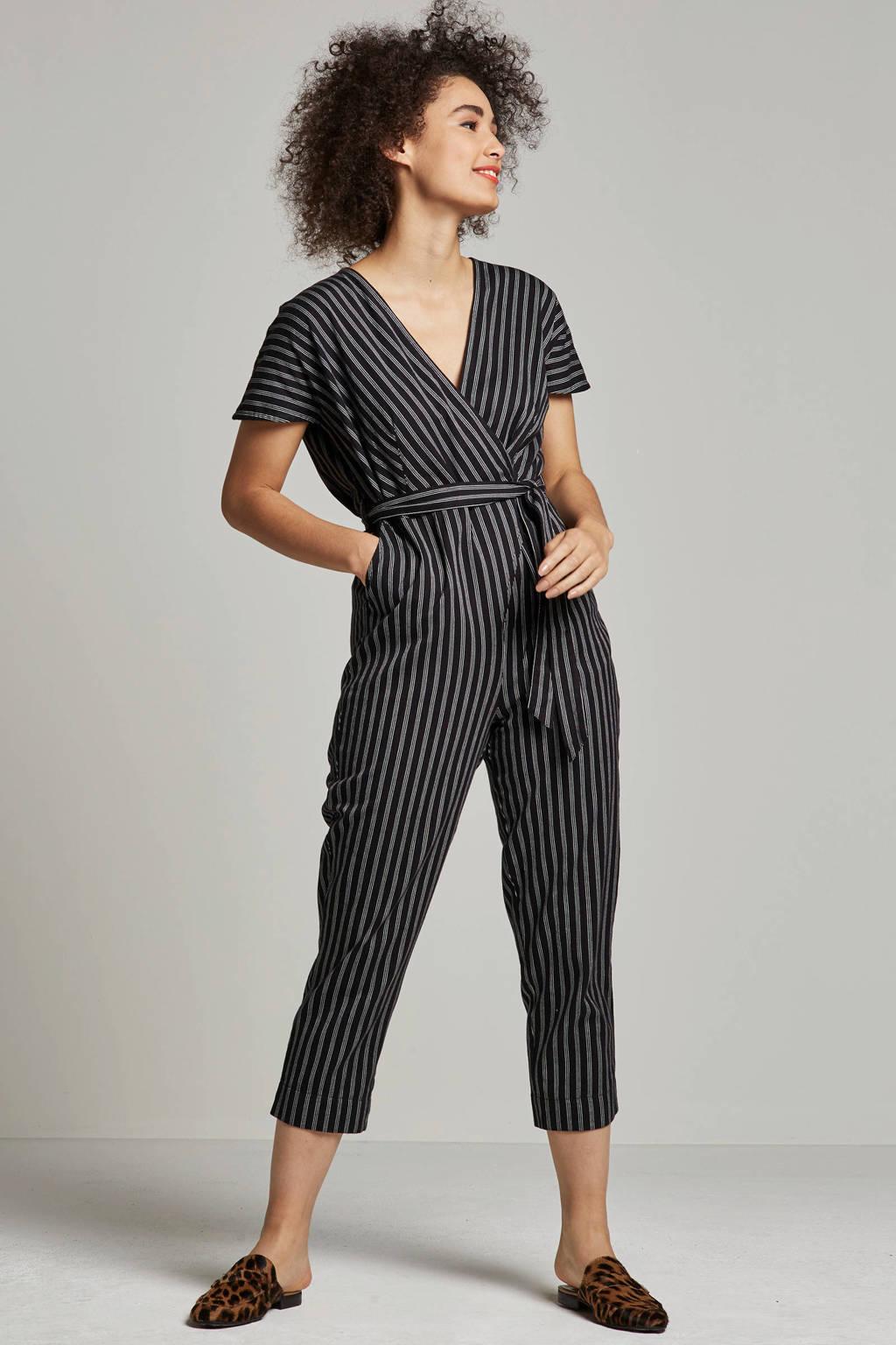 People Tree slim fit gestreepte jumpsuit, Zwart/wit