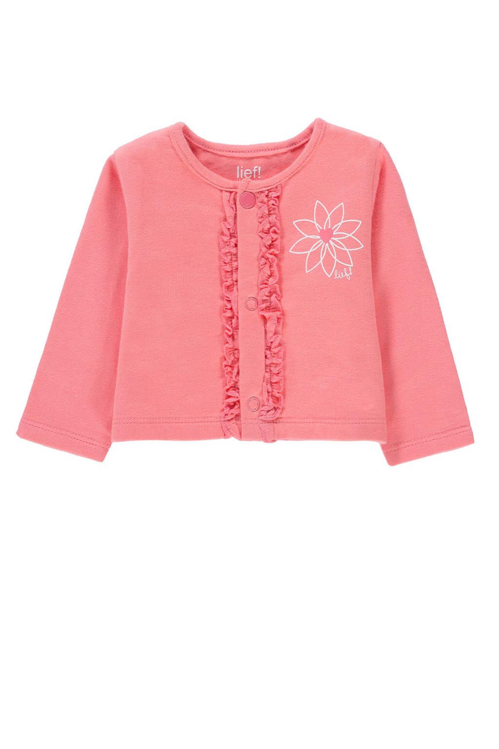 lief! baby vest met printopdruk en ruches roze, Roze