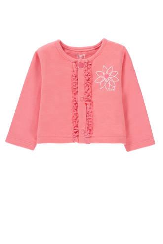 baby vest met printopdruk en ruches roze