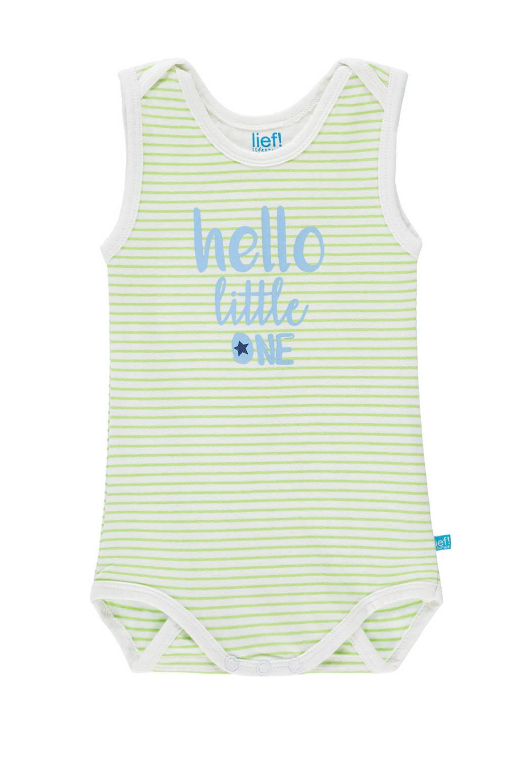 lief! newborn gestreepte romper met tekst groen, Limegroen/wit