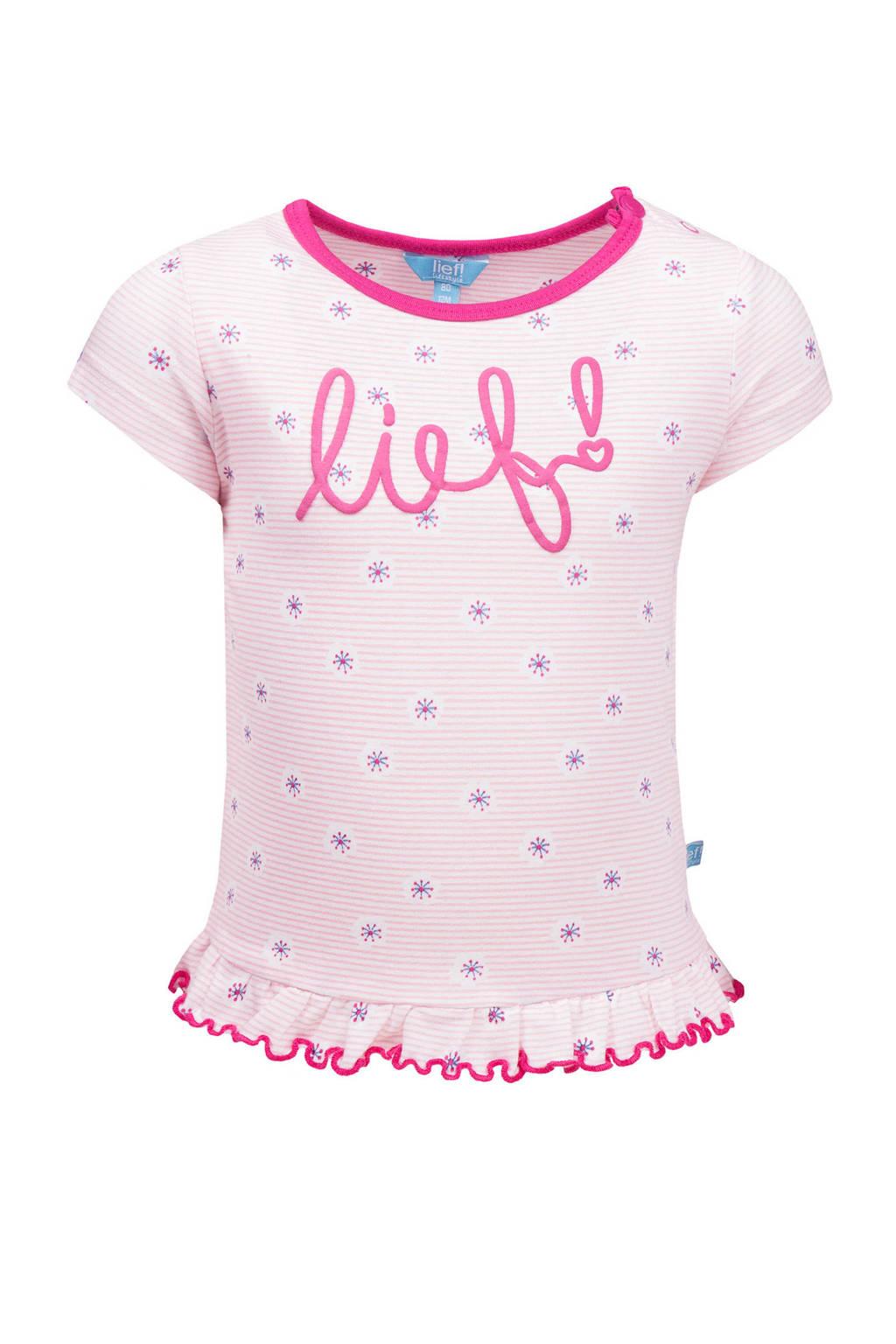 lief! T-shirt met all over print roze, Roze