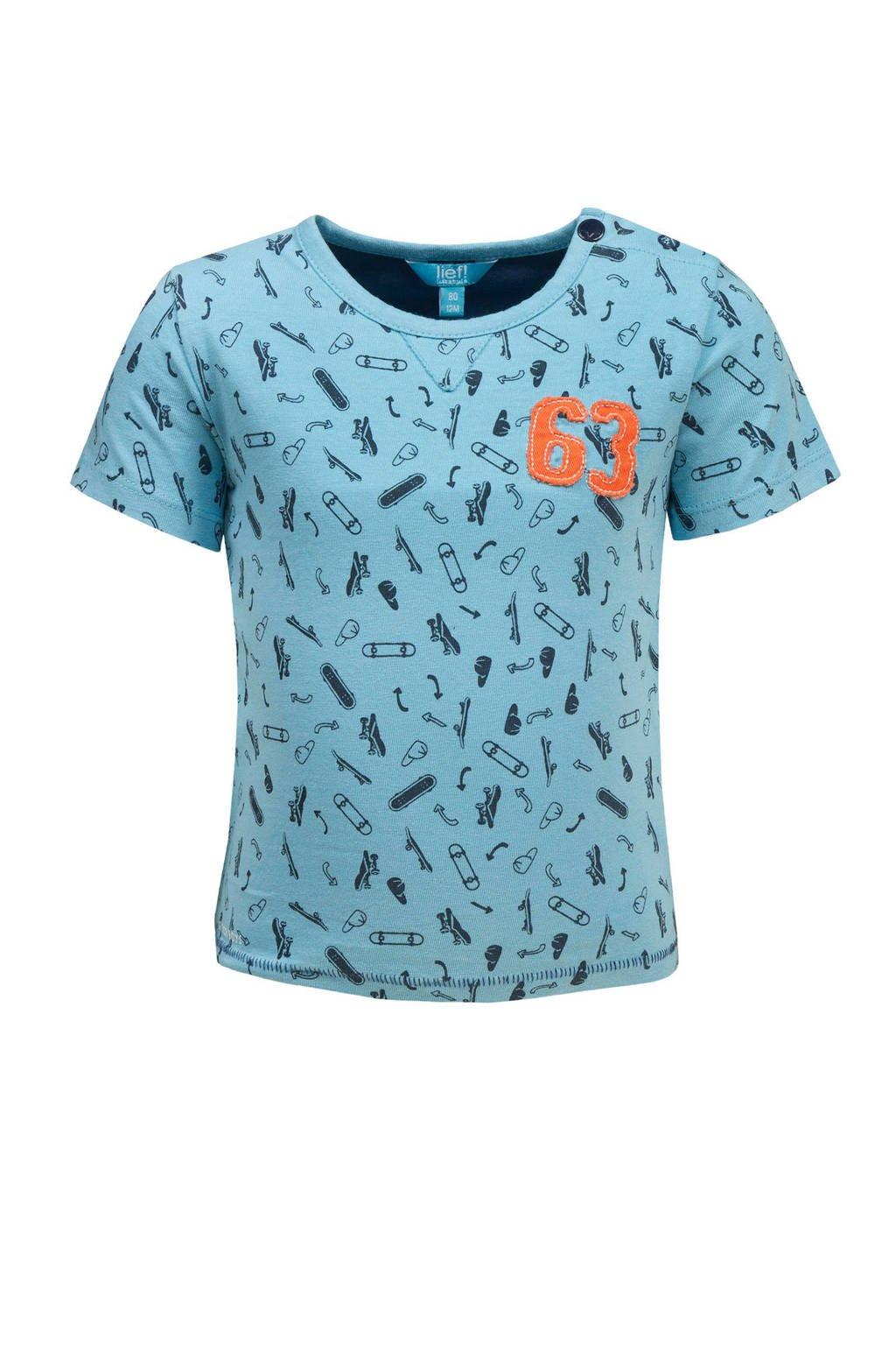 lief! T-shirt met all over print blauw, Lichtblauw/blauw