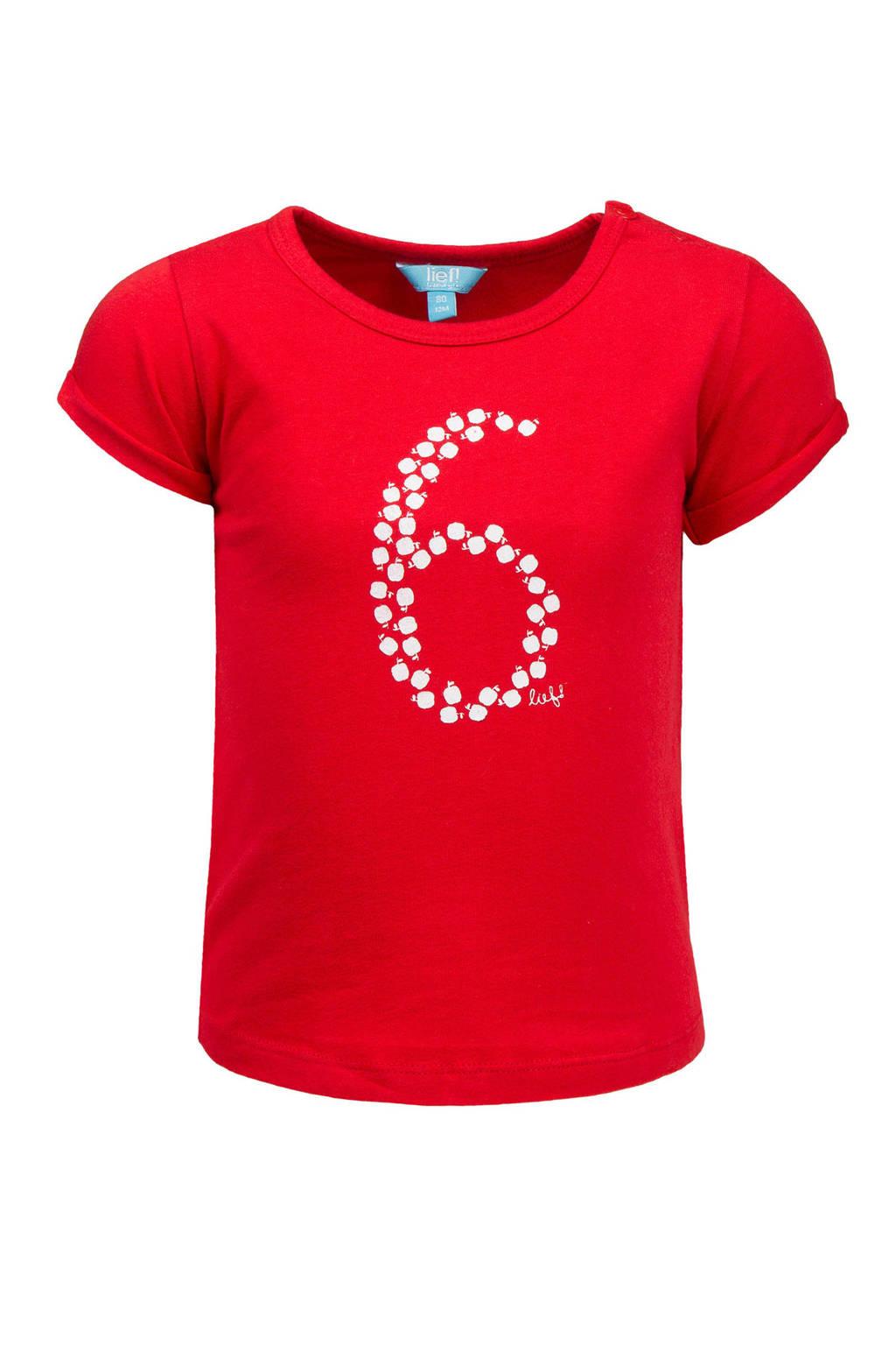lief! T-shirt met print felrood, Felrood