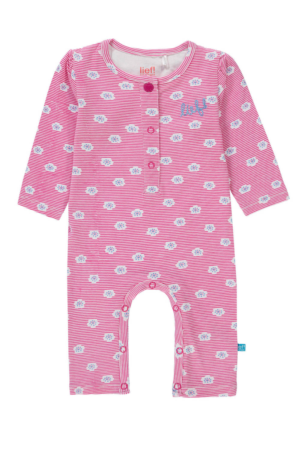 lief! newborn baby boxpak met all over print roze, Roze/wit