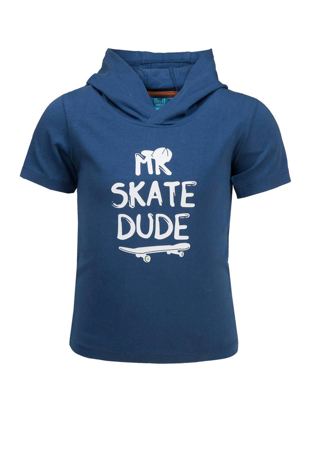 lief! T-shirt met capuchon en tekst blauw, Blauw