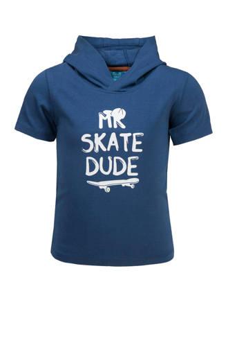 T-shirt met capuchon en tekst blauw