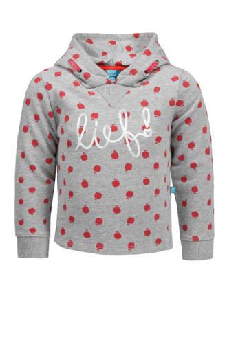 sweater met stippen en logo grijs