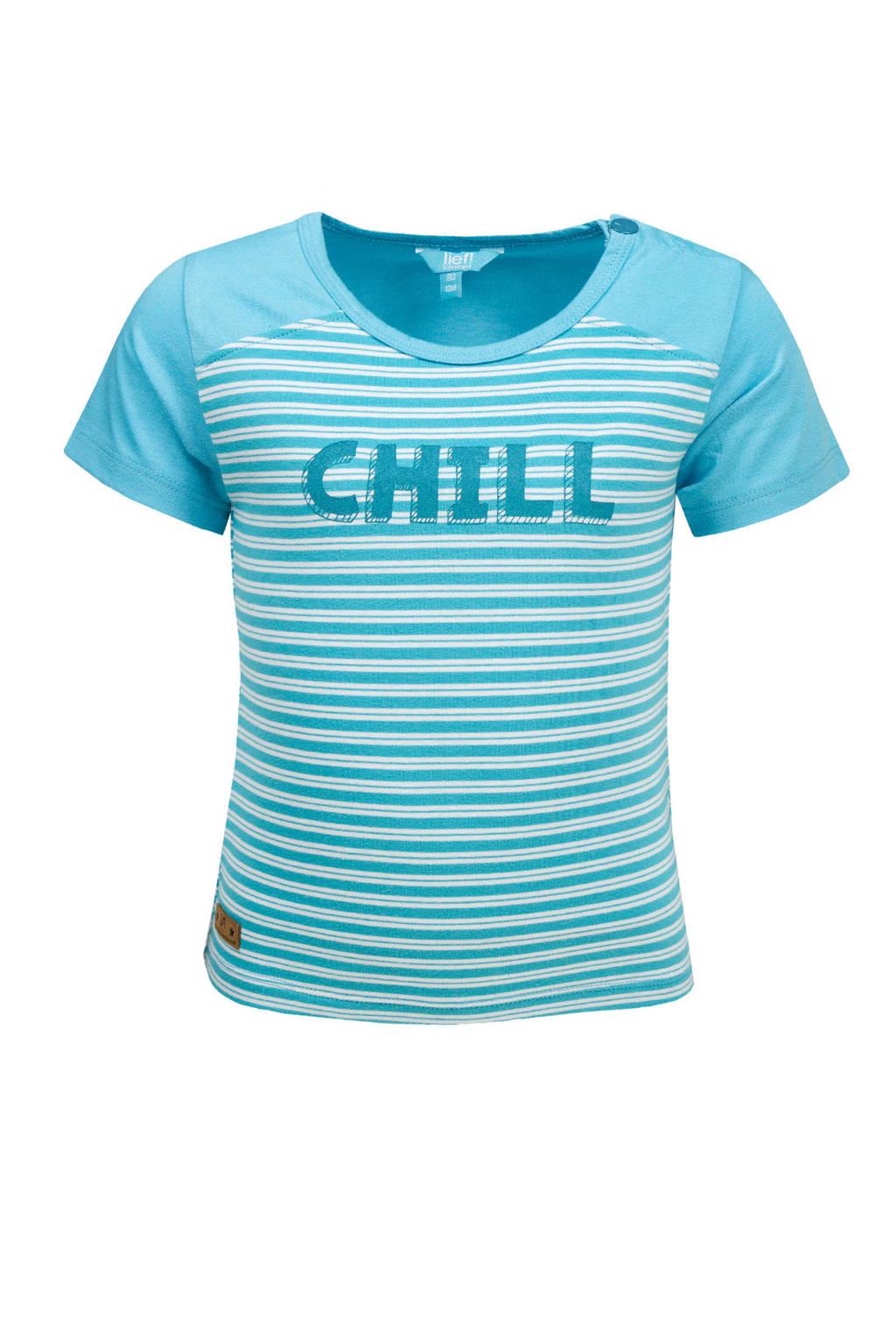 lief! gestreept T-shirt lichtblauw, Lichtblauw