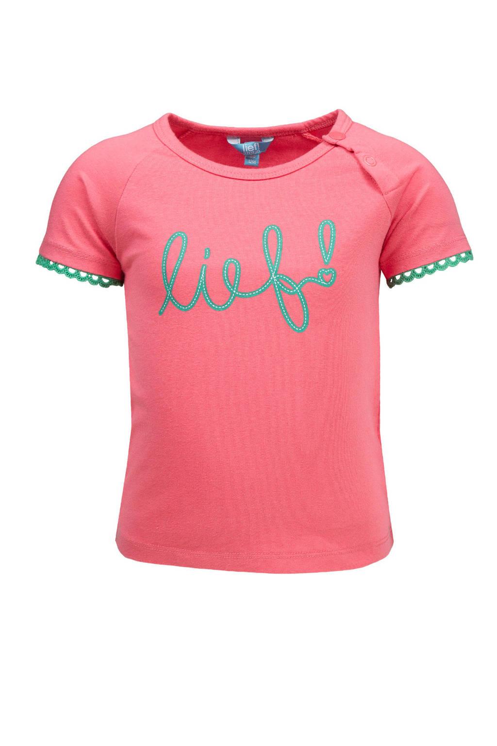 lief! T-shirt met logo roze, Donkerroze/groen