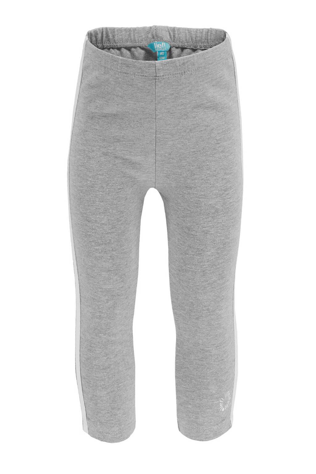 lief! legging met contrastbies grijs melange, Grijs melange/wit